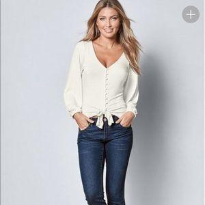 NWT Venus burgundy button down tie top blouse lg